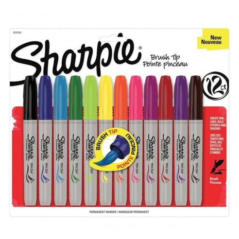 Sharpie Brush Punta Pincel Marcador Permanente (12 unidades)