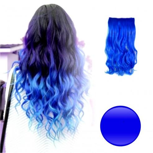 Extension de Cabello Unicolor Rizada Azul Rey