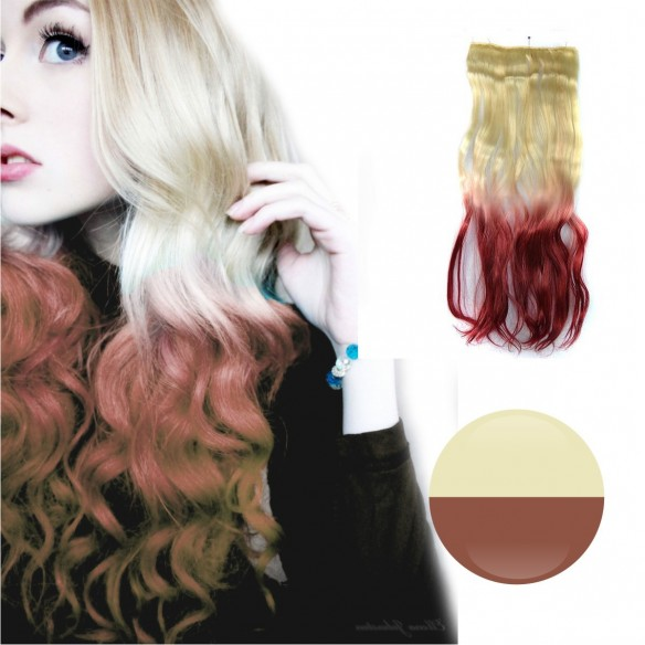 Cortina de cabello Ondulada Californianas Rubio Rojo Vino