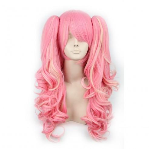 Peluca Miku Cosplay Lolitas Anime Bicolor con colitas de 65 a 70cm cabello rizado y ondulado