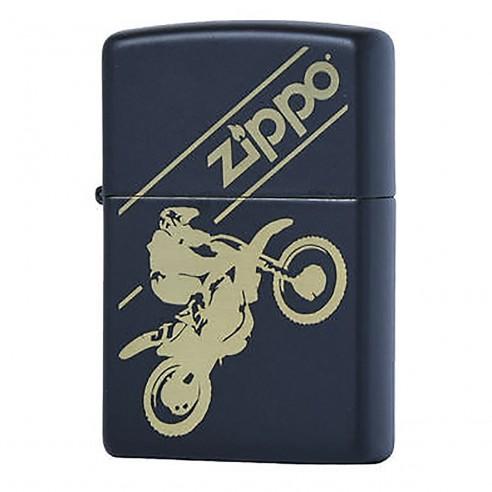Encendedor Zippo Stamp Motocross 29528 Black Mate - Negro