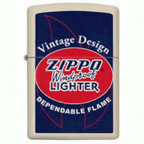 Encendedor Zippo Stamp vintage design flame 29536 - Blanco Azul