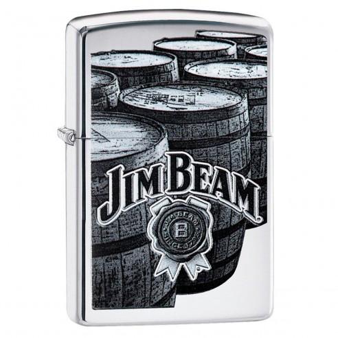 Encendedor Zippo Stamp Jim Beam Bourbon Barrels 29324 High Polish Chrome - Plateado