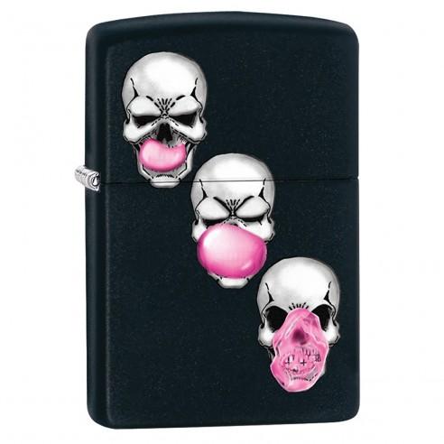Encendedor Zippo Stamp Skull Bubble Gum 29398 Black Matte - Negro