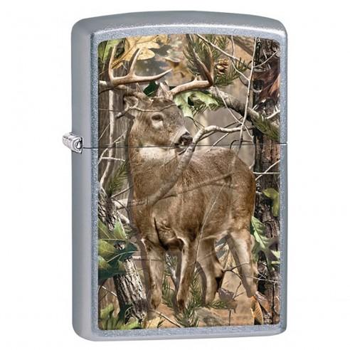 Encendedor Zippo Stamp Realtree Camo Buck Deer 29310 Street Chrome - Plateado