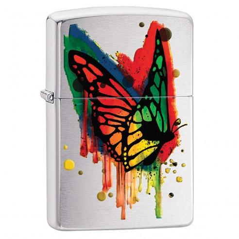 Encendedor Zippo Stamp Butterfly Lighter 29392 Brushed Chrome - Plateado