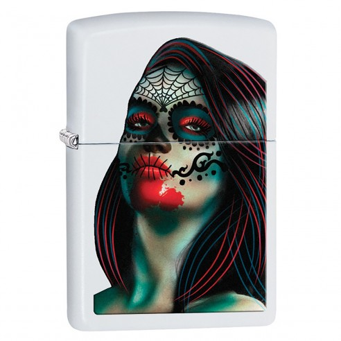 Encendedor Zippo Stamp Day Of The Dead Lady Tattoo Women Girl 29400 White Matte - Blanco