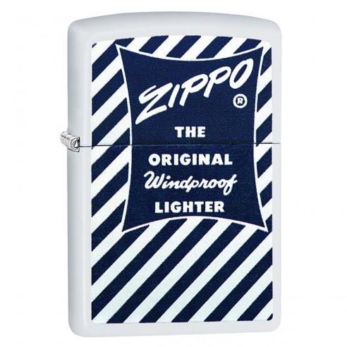 Encendedor Zippo Stamp Logo Design Blue & White 29413 - Blanco