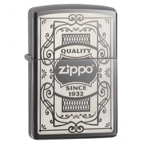 Encendedor Zippo Stamp Quality Since 1932 - 29425 Black Ice Chrome - Negro