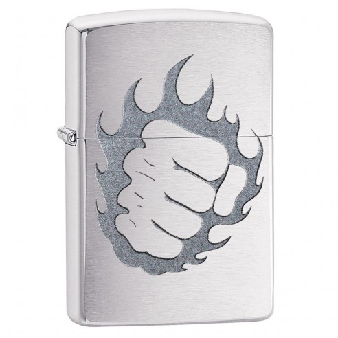 Encendedor Zippo Stamp Tattoo Fire And Fist 29428 Brushed Chrome - Plateado