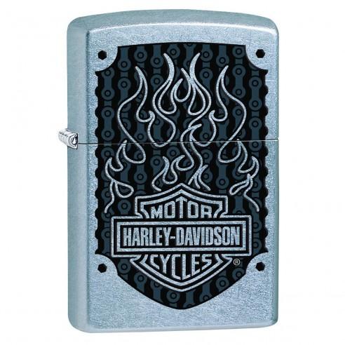 Encendedor Zippo Stamp Harley Davidson Logo Flame 29157 Street Chrome - Plateado