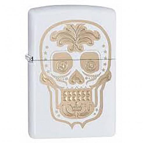 Encendedor Zippo Stamp Gold Sugar Skull Day of the Dead 28792 White Matte - Blanco