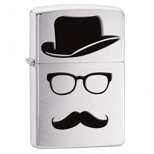 Encendedor Zippo Stamp Moustache Faceless And Hat 28648 Brushed Chrome - Plateado