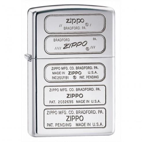Encendedor Zippo Texture Bottom Stamp Timeline 28381 High Polish Chrome - Plateado
