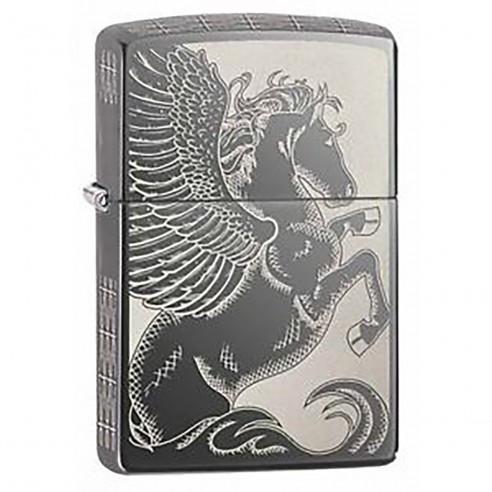 Encendedor Zippo Stamp Classic Winged Pegasus 28802 Black Ice Chrome - negro