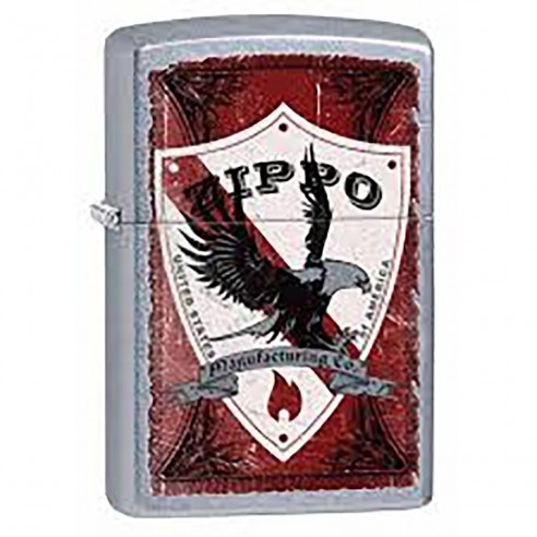 Encendedor Zippo Stamp Shield Red Image 28867 Street Chrome - Plateado