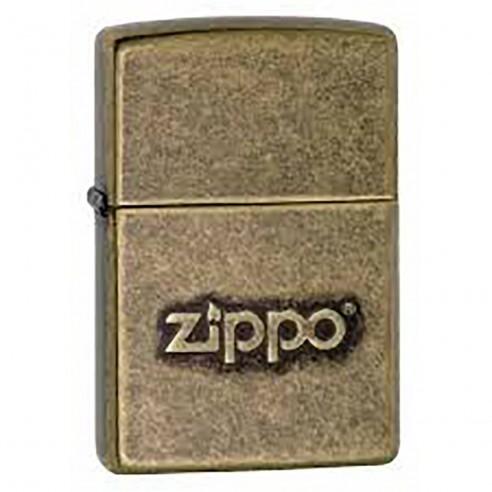 Encendedor Zippo texture Stamped Antique Brass Logo 28994 - Dorado