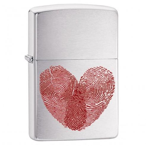 Encendedor Zippo Stamp Fingerprint Heart 29068 Brushed Chrome - Plateado