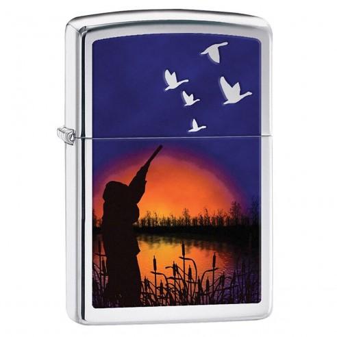 Encendedor Zippo Stamp Duck Hunting 29076 High Polish Chrome - Plateado