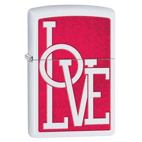Encendedor Zippo Stamp Love Brand 29085 Matte White - Blanco