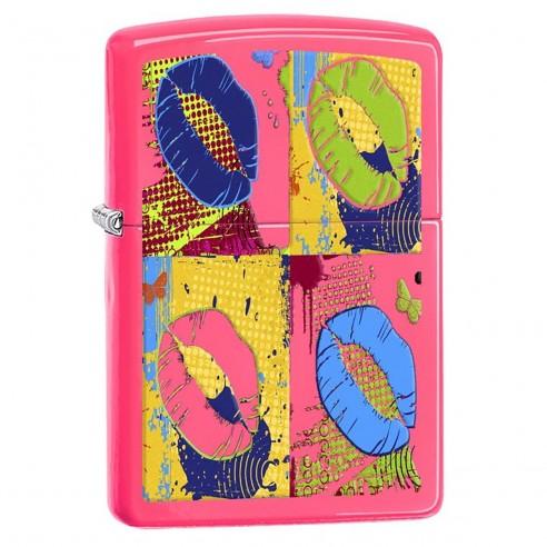 Encendedor Zippo Stamp Pop Lips Neon Image 29086 Pink - Fucsia