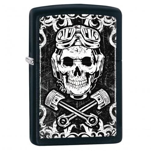 Encendedor Zippo Stamp Skull Wrenches Design Black & White 29088 - Negro