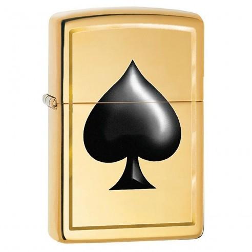 Encendedor Zippo Stamp Black Spade Pocket 29094 High Polish Brass - Dorado