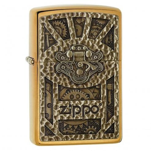 Encendedor Zippo texture Gear Steam Punk Emblem 29103 Brushed Brass - Dorado