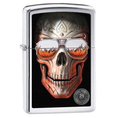 Encendedor Zippo Stamp Anne Stokes Skull Glasses 29108 High Polish Chrome - Plateado