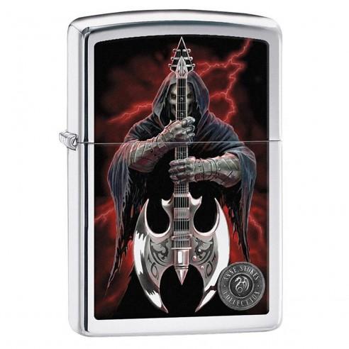 Encendedor Zippo Stamp Anne Stokes Grim Reaper Guitarist 29109 High Polish Chrome - Plateado