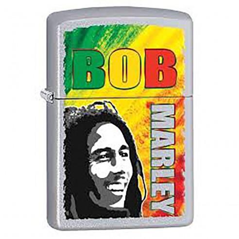 Encendedor Zippo Stamp Bob Marley Y&z Matches 29126 Satin Chrome - Plateado