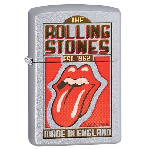 Encendedor Zippo Stamp Rolling Stones Made In England 29127 Satin Chrome - Plateado