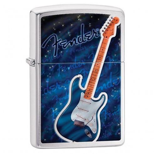 Encendedor Zippo Stamp Fender Blue Guitar 29128 Brushed Chrome - Plateado