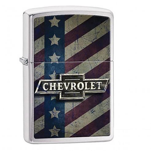 Encendedor Zippo Stamp Chevy Star And Stripes Pocket 29148 Polish Chrome - Plateado