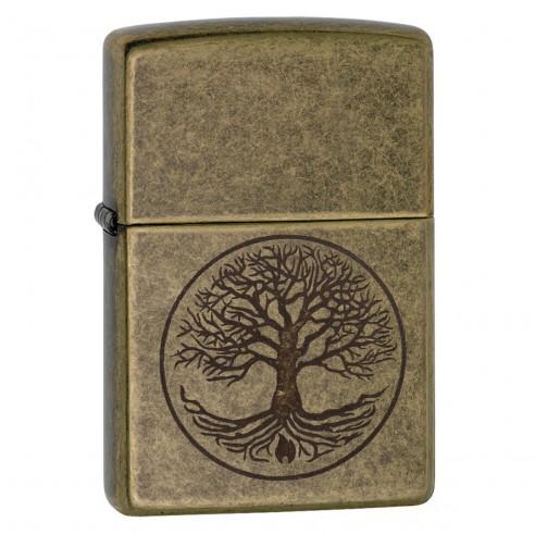 Encendedor Zippo texture Antique Brass Eternal Tree of Life Lighter 29149 - Dorado