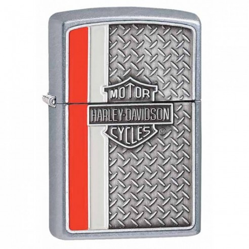 Encendedor Zippo texture Harley Davidson Diamond Plate Lighter 28732 Street Chrome - Plateado