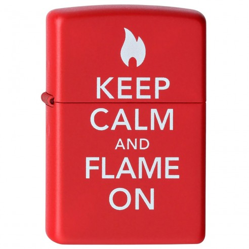 Encendedor Zippo Stamp Keep Calm and Flame On Red Lighter 28671 Red Mate - Rojo