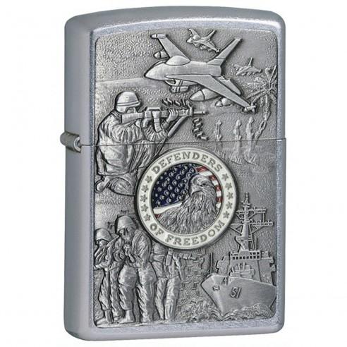 Encendedor Zippo texture Military Defenders Of Freedom Emblem 24457 - Plateado