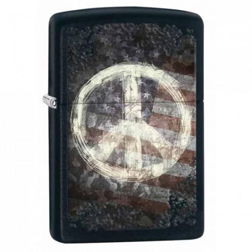 Encendedor Zippo Stamp Peace Sign On Flag 28864 Black Matte - Negro