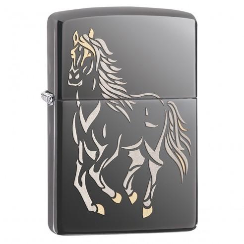 Encendedor Zippo Stamp Running Horse 28645 Black Ice - Negro