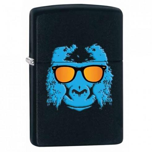 Encendedor Zippo Stamp Gorila Ape With Shades 28861 Black Matte - Negro