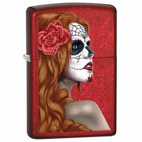 Encendedor Zippo Stamp Day of The Dead 28830 Candy Apple Red - rojo