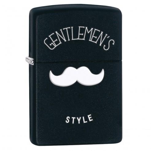 Encendedor Zippo Stamp Gentleman´s Style 28663 Black Matte - Negro
