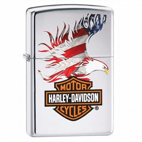 Encendedor Zippo Stamp Harley-Davidson Flag Eagle High Polish Chrome 28082