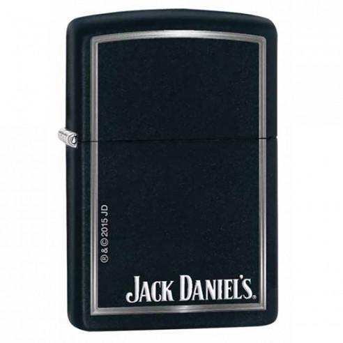 Encendedor Zippo Stamp Jack Daniels Matte Black Finish W/silver Border 28820 - Negro