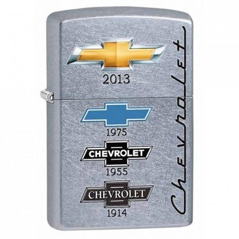 """Encendedor Zippo Stamp Chevy Logos Street """"chevy Timeline"""" 28846 - Plateado"""