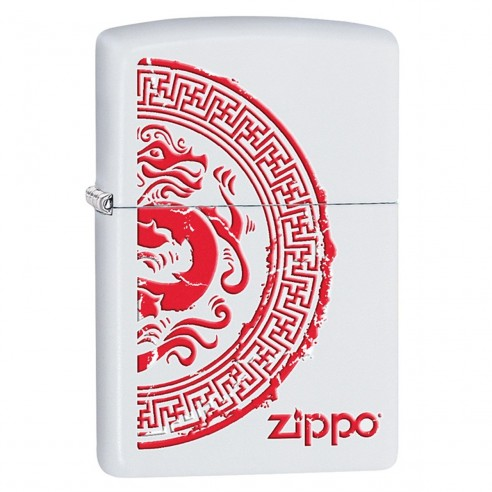 Encendedor Zippo Stamp Dragon Stamp Lighter Brand 28855 White Matte - Blanco