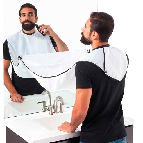 Capa Barbera para Afeitar Recoge el pelo Beard Pro blanca