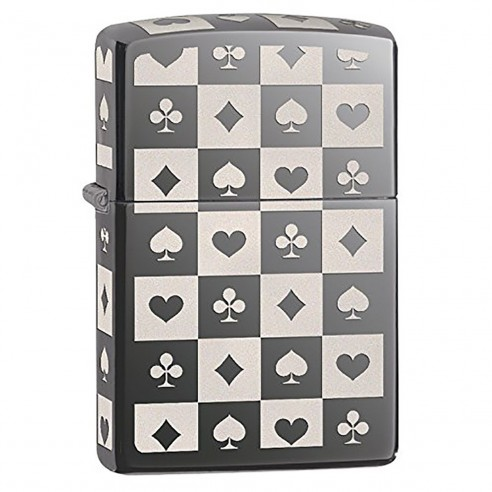 Encendedor Zippo Stamp Card Suits Black Ice 29082 - Negro