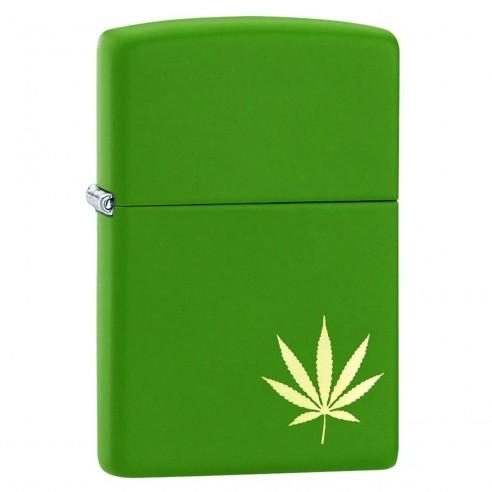 Encendedor Zippo Stamp Green Hoja de Hierba 29588 - Negro